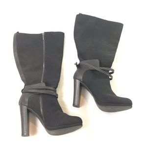 Shoes - Tall Chunky Heel Boots Zip Side Belted 10 W Wide